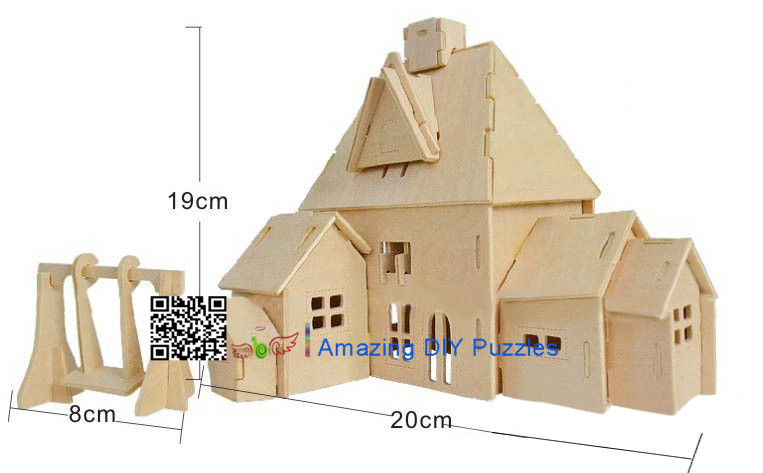DIY toy-3D puzzle-Wooden Happy family  house