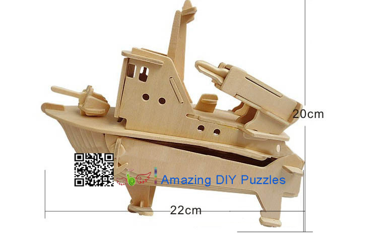 DIY toy-3D puzzle-Wooden Missile speedboat