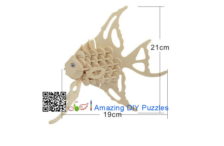DIY toy-3D puzzle-Wooden Angel fish