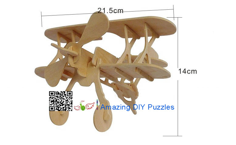 DIY toy-3D puzzle-Wooden Biplane