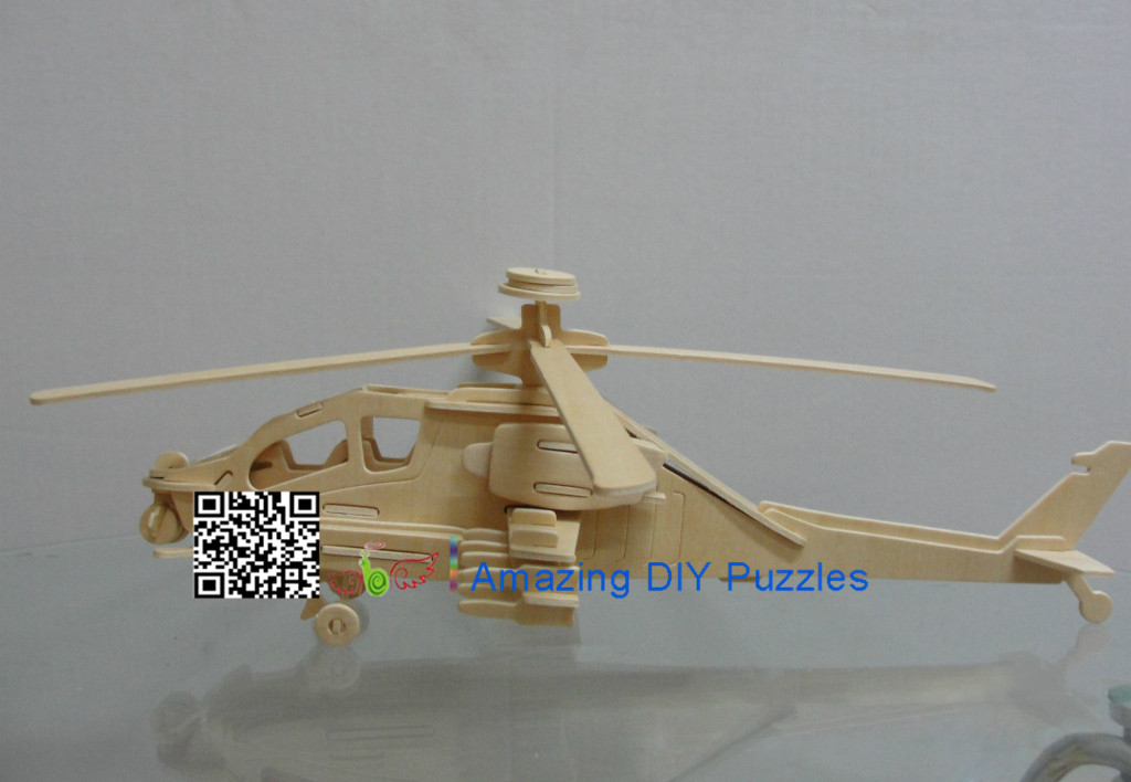 DIY toy-3D puzzle-Wooden Apache helicopter