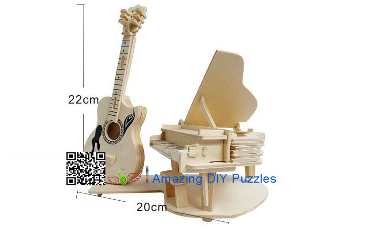 DIY toy-3D puzzle-Wooden Piano and guitar